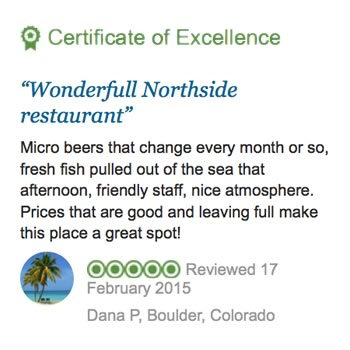 A great review of Northside Bistro giving it 5 stars for food and service for a restaurant in St. Thomas US Virgin Islands in the Caribbean